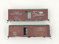 Vintage Athearn HO Scale 2 Metal 40' Box Cars ~ Chicago & NW ~ Norfolk & Western