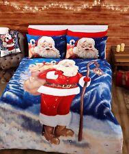 Santa Christmas Single Double King Reversible Duvet Quilt Cover Bedding Set Xmas