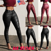 Womens Wet Look Stretchy Pants Faux Leather Skinny Leggings Pencil Trousers Size