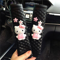 2pcs Cute Hello Kitty Black Leather Auto Car Seat Belt Shoulder Pads Protector