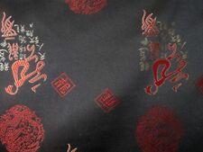 China Brokatstoff Dekostoff Glück und Drache schwarz rot Meterware
