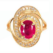 1,65Kt 585er Gelbgold Natürlich rot Rubin IGI Zertifiziert Diamant Ring
