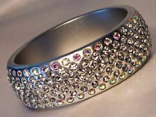 Silver Colored Bangle Bracelet for Summer Wide Lucite with Clear Crystals