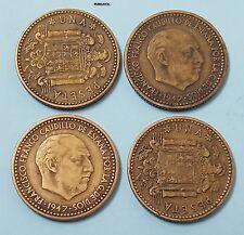 ESTADO ESPAÑOL FRANCO. ESCASA moneda de 1 Peseta año 1947*1948 CIRCULADA en MBC.