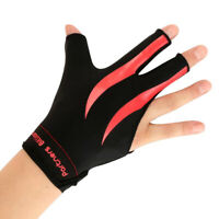 Three Fingers Right Hand Snooker Pool Cue Billiard Gloves, Red Black