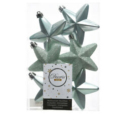 6 7.5cm Verde Salvia Inastillable estrella de Navidad árbol de Navidad Bolas