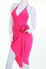 Pink Wrap Dress Spandex Party Club Sexy Halter Cocktail Small