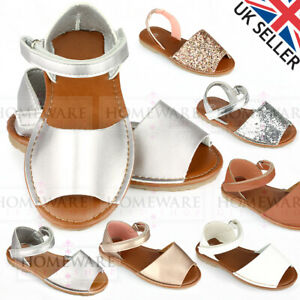 GIRLS SPANISH STYLE MENORCAN SANDALS WHITE GOLD SILVER GLITTER SIZES 4INF-2UK