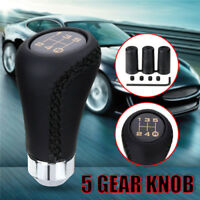 5 Speed black Stitche Leather Universal Manual Car Gear Stick Shift Knob Shifter
