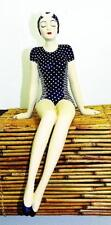 Bathing Beauty Shelf Sitter Figurine in Navy White Stripe & Polka Dot Suit Large