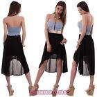 Abito donna miniabito vestito velato jeans bandeau asimmetrico nuovo AS-6230
