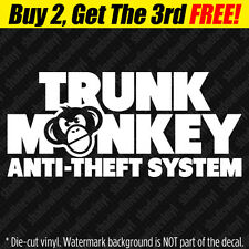 TRUNK MONKEY ANTI-THEFT Vinyl Decal Sticker Button Funny Meme Chimpanzee JDM SUV