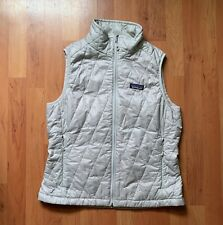 Women's Patagonia Puffer Quilted Zip Up Vest Jacket Grey Pink Size Medium Nano