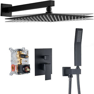 Black Shower Faucet Set Rainfall Shower Head Combo w/ Mixer Valve Kit Wall Mount