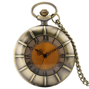 Glass Cover Half Hunter Case Pocket Watch Chain Analog Roman Number Display Gift