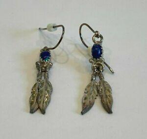 Eugene Belone Navajo Sterling Silver Feather Dangling Fish Hook Earrings w Stone