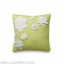 Dena Moroccan Garden Square Decorative Toss Pillow Green White Floral Applique