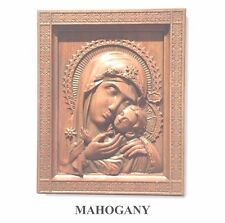 Mother of God with Baby Jesus Religious Icon Woodcarving