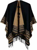 Lacavocor Women's Warm Shawl Wrap Cape Winter Cardigan Sweaters, A7-black, Size