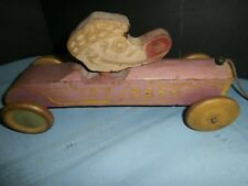 ANTIQUE VINTAGE WOODEN RACE CAR w/ UP & DOWN  DUCK HEAD PULL TOY