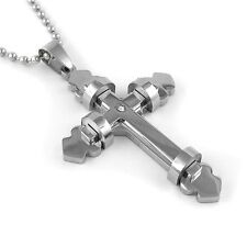 Stainless Steel Cross Pendant with Centered Cz Stone