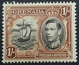 RARE 1938 Grenada 1s ERROR VARIETY - LINE ON SAIL - MNH  SG160