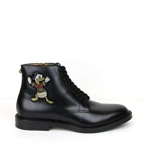 $1980 Gucci Men's Black Leather Ankle Boots w/Embroided Donald Duck 459086 1000