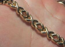 "Solid 10k Yellow Gold Huggs Kisses Italian Bracelet 7.4"" LONG 11.82g 7.6mm wide"