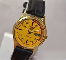 VINTAGE MEN'S SEIKO 5 GOLD PLATED D&D AUTO 17 JEWELS 7009 MOVT. USED WRIST WATCH