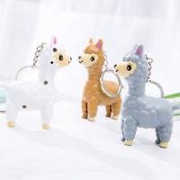 Cartoon Alpaca LED Keychain With Sound Flashlight Kid Gifts Keyring Bag Pendant