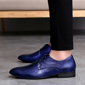 Mens Dressformal Leather Shoes Pointy Toe Lace Up Nightclub Party Casual Shoes