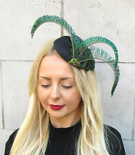 Green Black Peacock Statement Feather Fascinator Pillbox Races Hat Ascot 2304