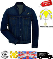 Motorcycle Motorbike Denim Jeans Jacket Protective Lining Removable CE Armour