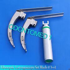 MCCOY FLEXI-TIP FIBEROPTIC LED Laryngoscope SET- BLADE # 3 &4, MEDIUM HANDLE-FL2