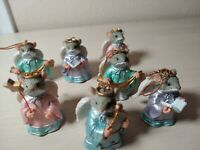 """Estate Christmas Ornament Resin Mouse Angel Holding Star Wand 2-1/2"""" Resin 7 pcs"""