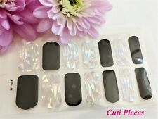 Self Adhesive Nail Polish Wrap Black Silver Holographic Shatter Glass Decal K106