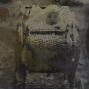 Victorian Spirit Ghost Baby Foggy 1880s 1/6 Plate Tintype Ferrotype Photo C38