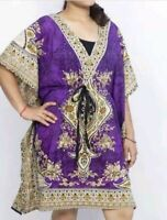 Polyester Printed Women Kaftan Short Dress Caftan Boho Hippy Tunic Beach Cover