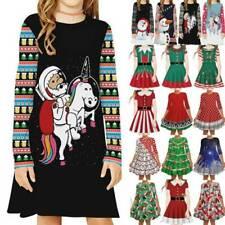 Weihnachtskleid Weihnachten Mädchen Kinder Swing Shirtkleid Xmas Partykleid NEW
