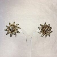 1950s Clip On Earrings Filigree Edelweiss Flower Design Silver Plated Vintage