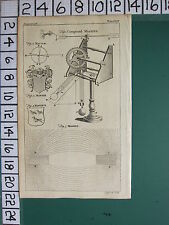 1754 Antique Imprimé ~ Composé Machine Macule Diagramme~Manteau Martlets~AIMANT