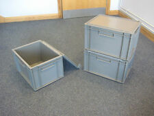 5 New Grey Plastic Storage Crates Box Container 20L