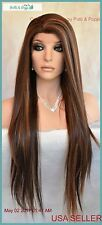 Long Straight Heat Safe Lace Front Wig Clr P4.27.30 Gorgeous Sexy USA Seller 162