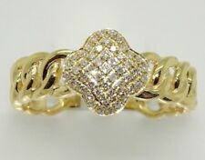 14k YELLOW GOLD DIAMOND PAVE CLOVER CHAIN LINK RING