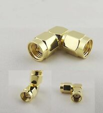 1x Sma Male Plug To Rp-Sma Male Jack Right Angle Elbow 90° Rf Adapter Connector