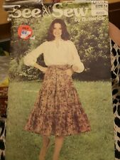 BUTTERICK 6222 sewing pattern vintage 60s 70s tiered gypsy skirt 8 10 12 14 16