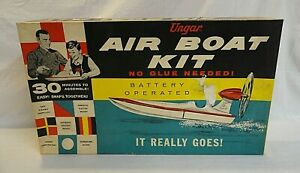 RARE! CIRCA EARLY 1960`S UNGAR MOTORIZED AIR SPEED BOAT UNBUILT MODEL KIT!