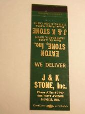 old advertising matchbook cover: J & K Stone, Inc. Muncie, Indiana