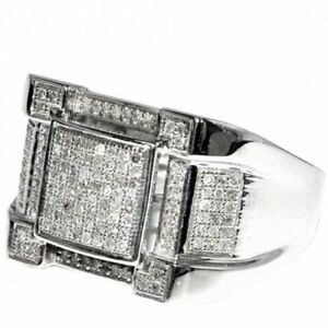 14K White Gold Over Mens Round Diamond Wedding Band Engagement Hip Pinky Ring