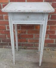 Early 19th cen. Antique Pine Hepplewhite Side Table Great White Over Red Paint